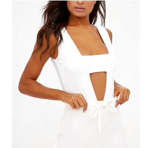 PrettyLittleThing white cut out body suit